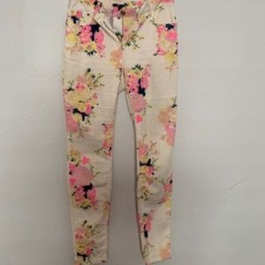 H&m Floral Skinny Jeans, Size 6